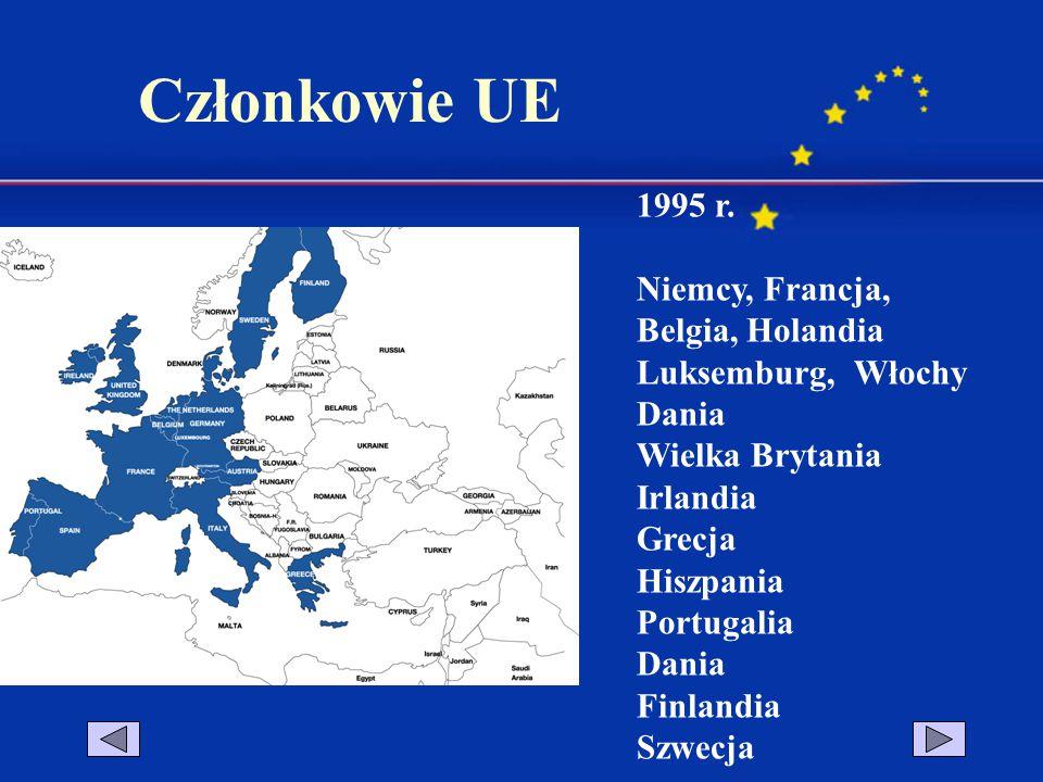 Członkowie UE 1995 r. Niemcy, Francja, Belgia, Holandia