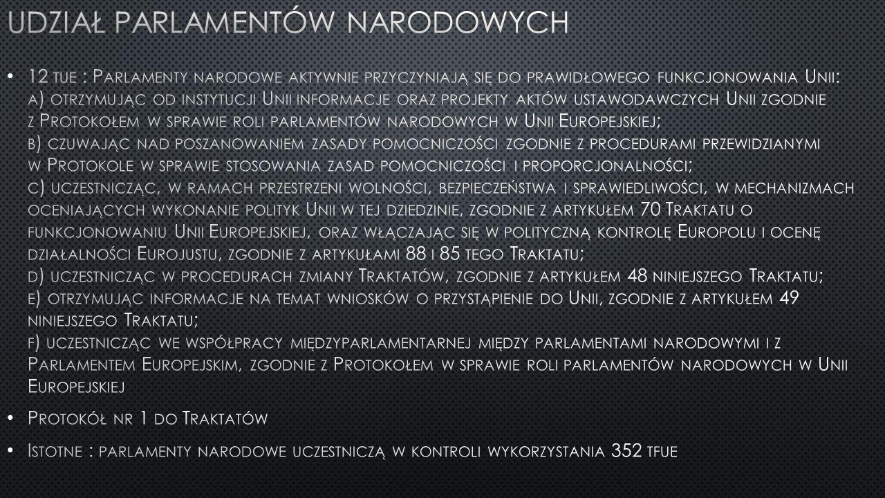 Udział Parlamentów narodowych