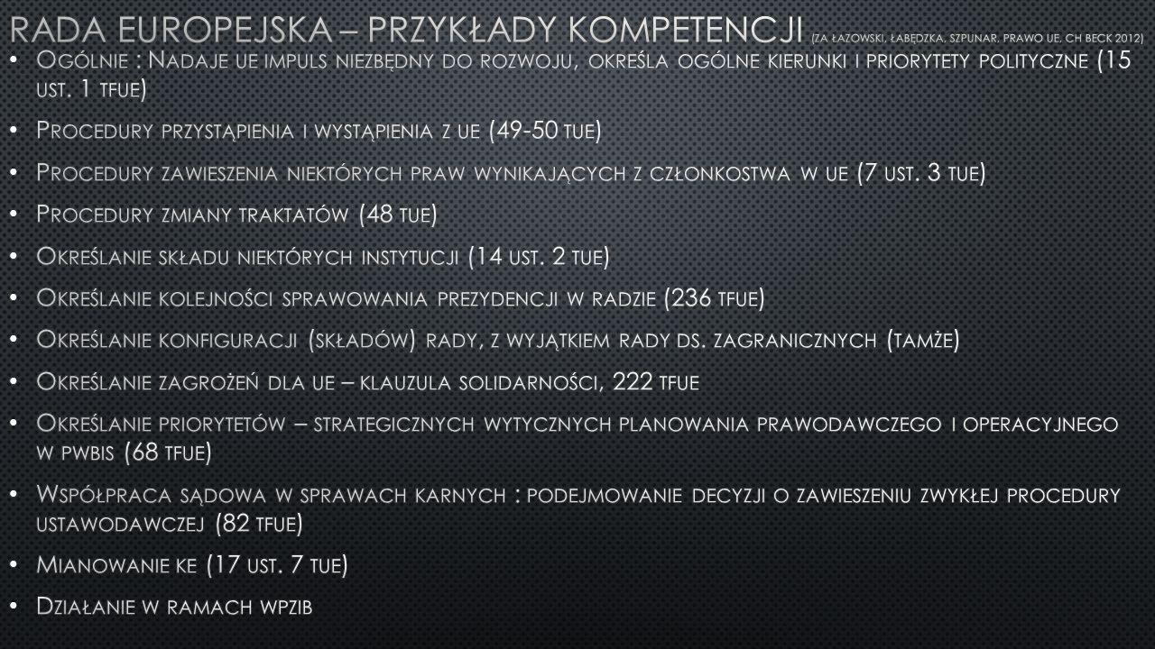 Rada Europejska – przykłady kompetencji (za Łazowski, Łabędzka, szpunar, prawo ue, CH Beck 2012)