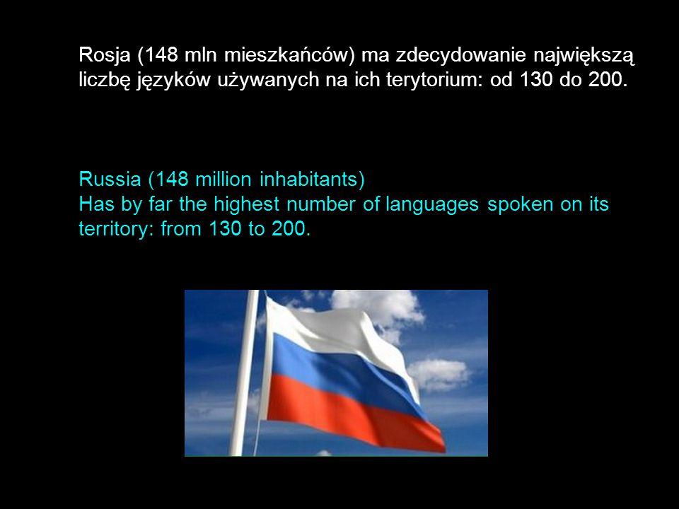 Rosja (148 mln mieszkańców) ma zdecydowanie największą liczbę języków używanych na ich terytorium: od 130 do 200.