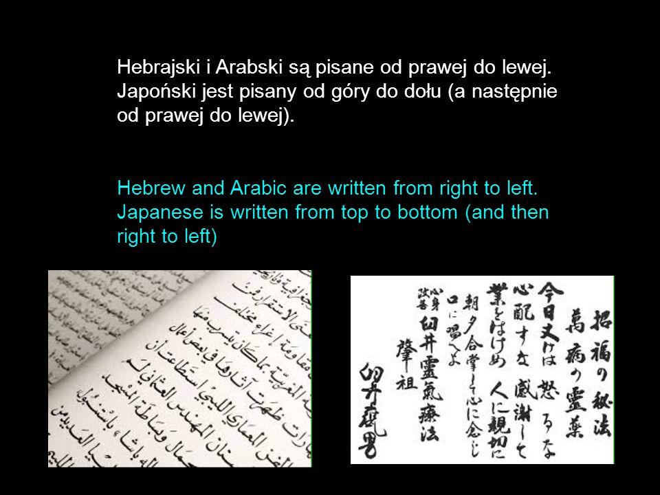 Hebrajski i Arabski są pisane od prawej do lewej.