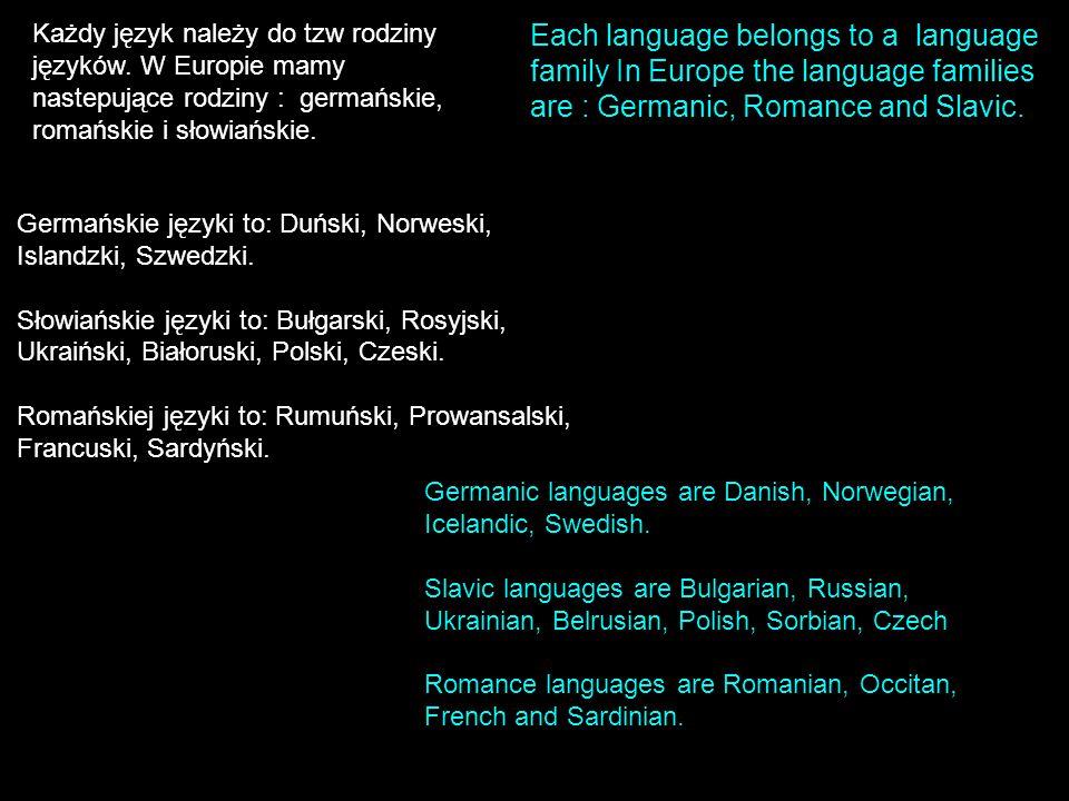 Każdy język należy do tzw rodziny języków