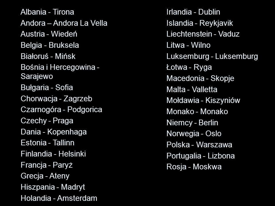 Albania - Tirona Andora – Andora La Vella. Austria - Wiedeń. Belgia - Bruksela. Białoruś - Mińsk.