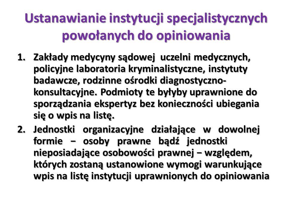 Ustanawianie instytucji specjalistycznych powołanych do opiniowania