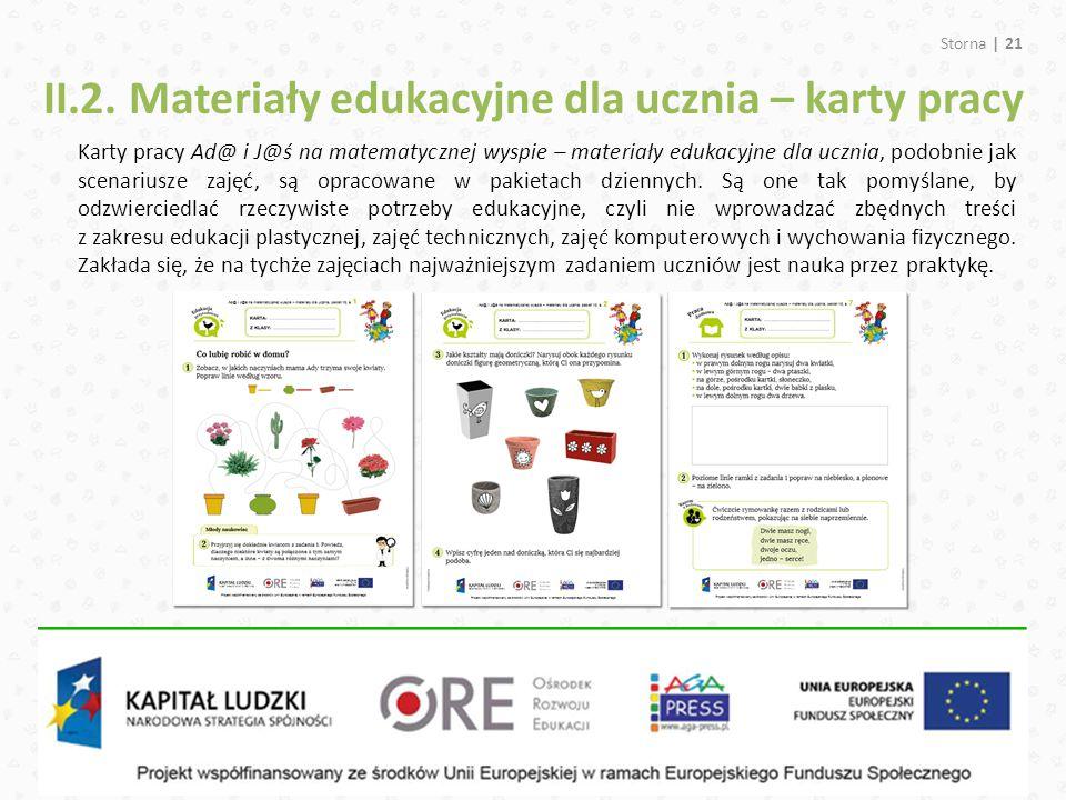 II.2. Materiały edukacyjne dla ucznia – karty pracy