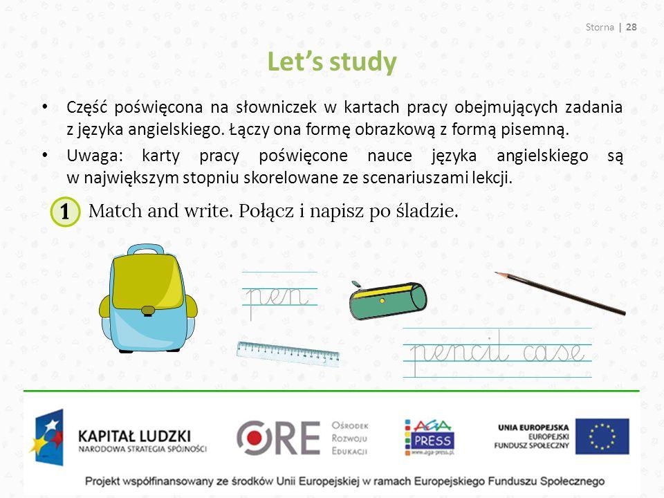 Let's study Część poświęcona na słowniczek w kartach pracy obejmujących zadania z języka angielskiego. Łączy ona formę obrazkową z formą pisemną.