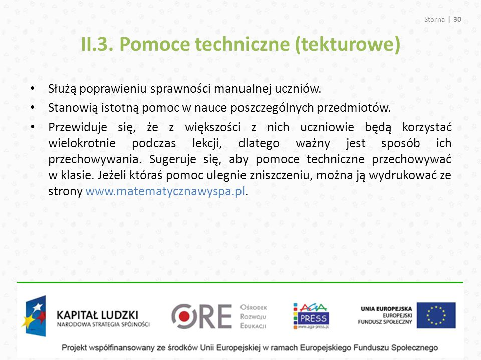 II.3. Pomoce techniczne (tekturowe)