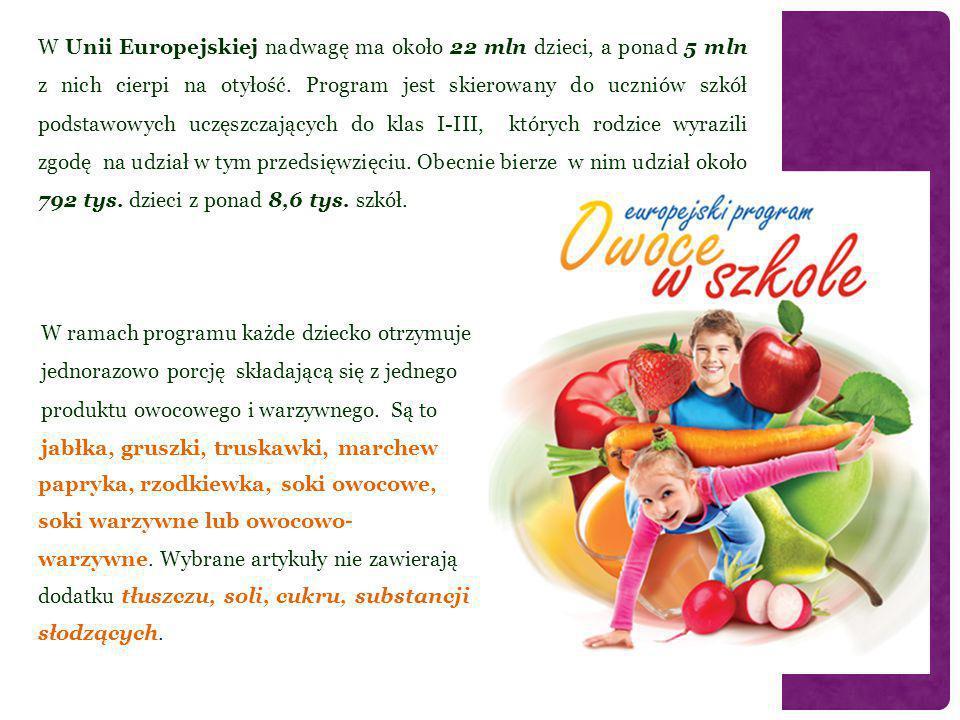 W Unii Europejskiej nadwagę ma około 22 mln dzieci, a ponad 5 mln z nich cierpi na otyłość. Program jest skierowany do uczniów szkół podstawowych uczęszczających do klas I-III, których rodzice wyrazili zgodę na udział w tym przedsięwzięciu. Obecnie bierze w nim udział około 792 tys. dzieci z ponad 8,6 tys. szkół.
