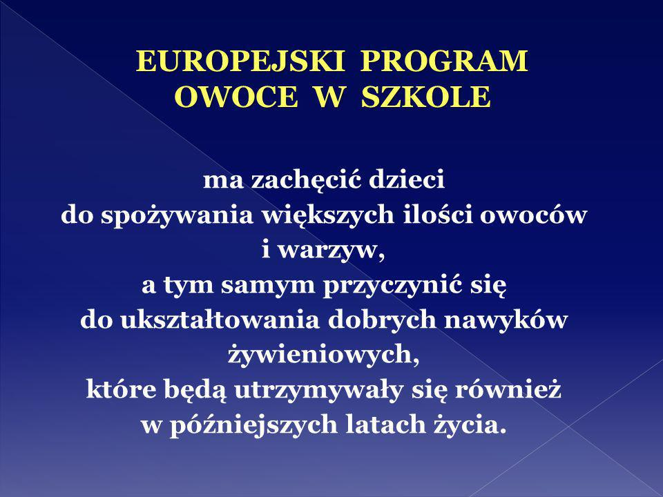 EUROPEJSKI PROGRAM OWOCE W SZKOLE