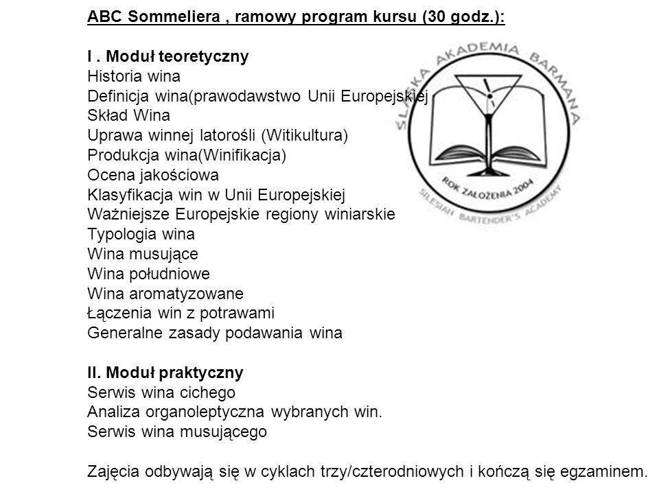 ABC Sommeliera , ramowy program kursu (30 godz.):