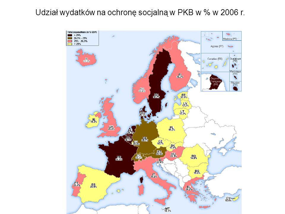 Udział wydatków na ochronę socjalną w PKB w % w 2006 r.