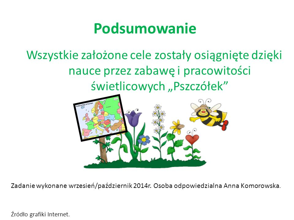 """Podsumowanie Wszystkie założone cele zostały osiągnięte dzięki nauce przez zabawę i pracowitości świetlicowych """"Pszczółek"""