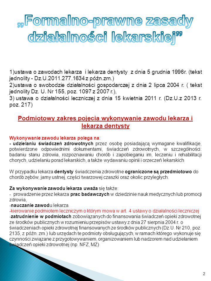 """""""Formalno-prawne zasady działalności lekarskiej"""