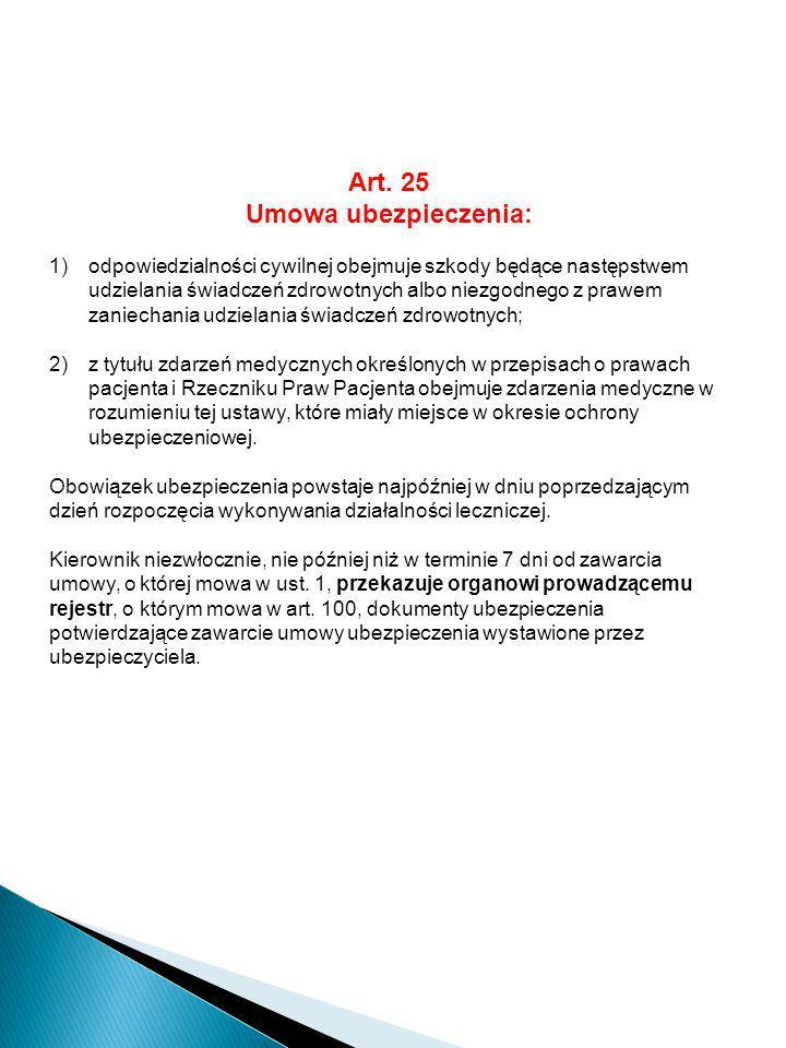 Art. 25 Umowa ubezpieczenia:
