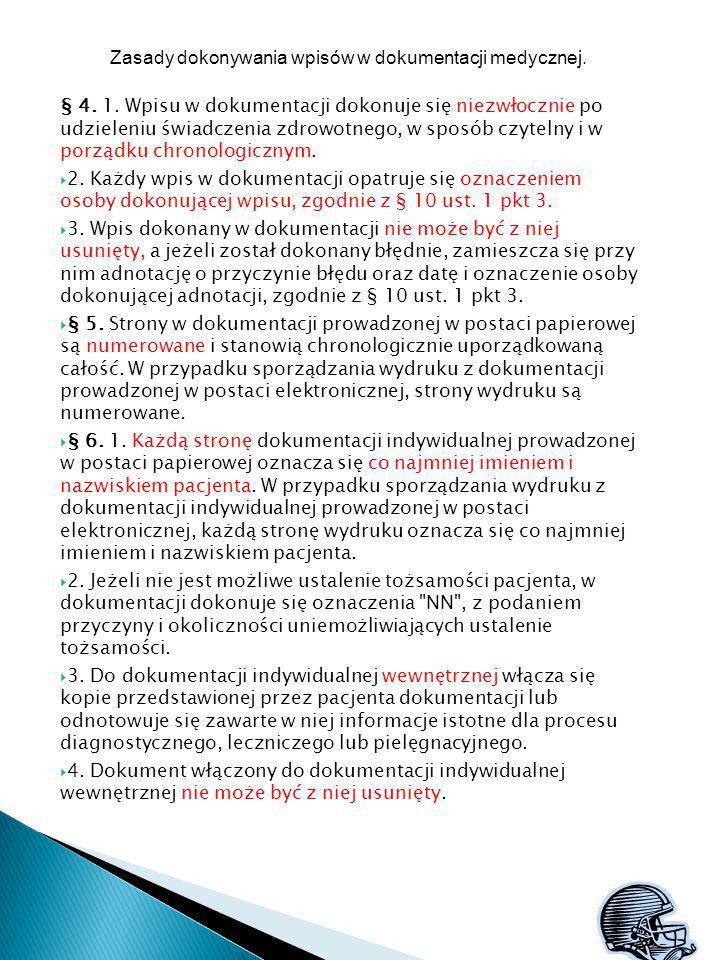 Zasady dokonywania wpisów w dokumentacji medycznej.