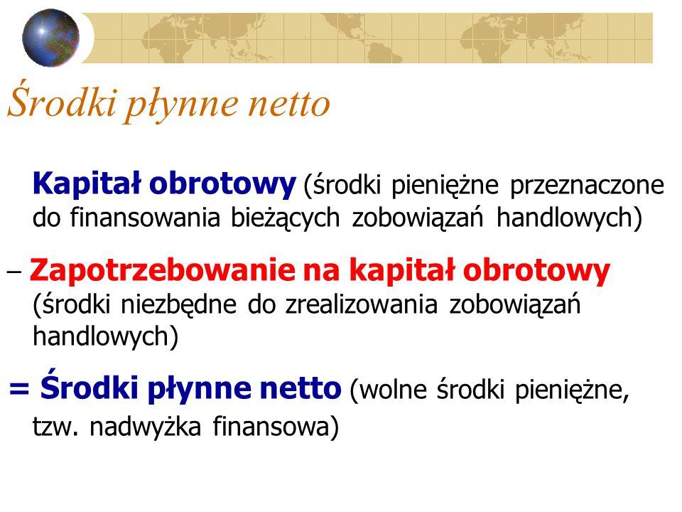 Środki płynne netto Kapitał obrotowy (środki pieniężne przeznaczone do finansowania bieżących zobowiązań handlowych)