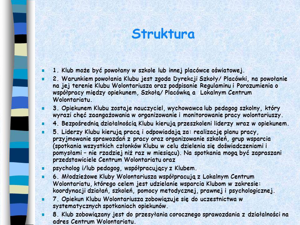Struktura 1. Klub może być powołany w szkole lub innej placówce oświatowej.