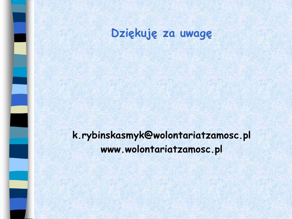 Dziękuję za uwagę k.rybinskasmyk@wolontariatzamosc.pl