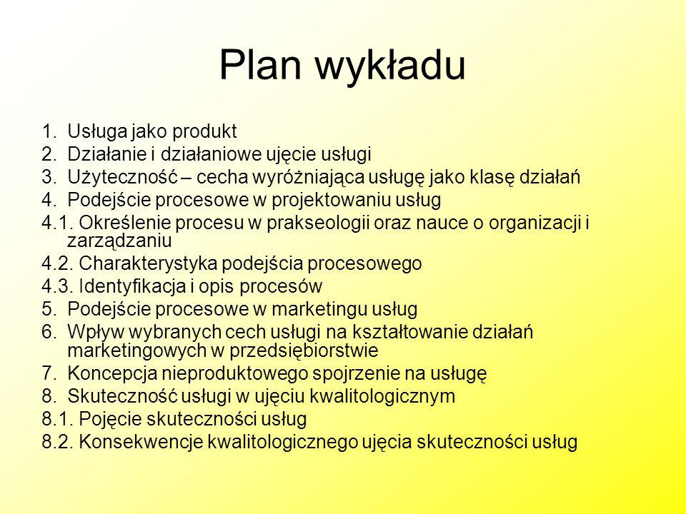 Plan wykładu Usługa jako produkt Działanie i działaniowe ujęcie usługi