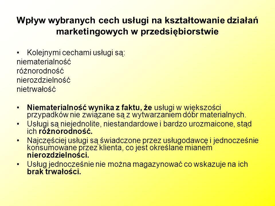 Wpływ wybranych cech usługi na kształtowanie działań marketingowych w przedsiębiorstwie