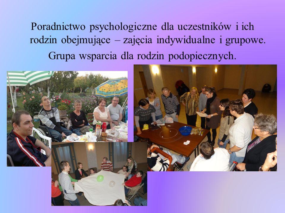 Poradnictwo psychologiczne dla uczestników i ich rodzin obejmujące – zajęcia indywidualne i grupowe.
