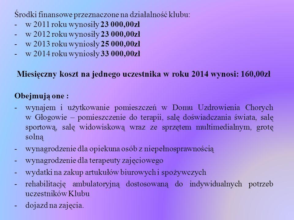 Miesięczny koszt na jednego uczestnika w roku 2014 wynosi: 160,00zł
