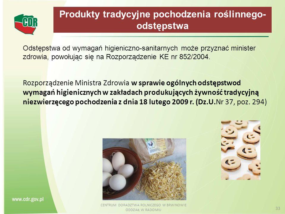 Produkty tradycyjne pochodzenia roślinnego- odstępstwa
