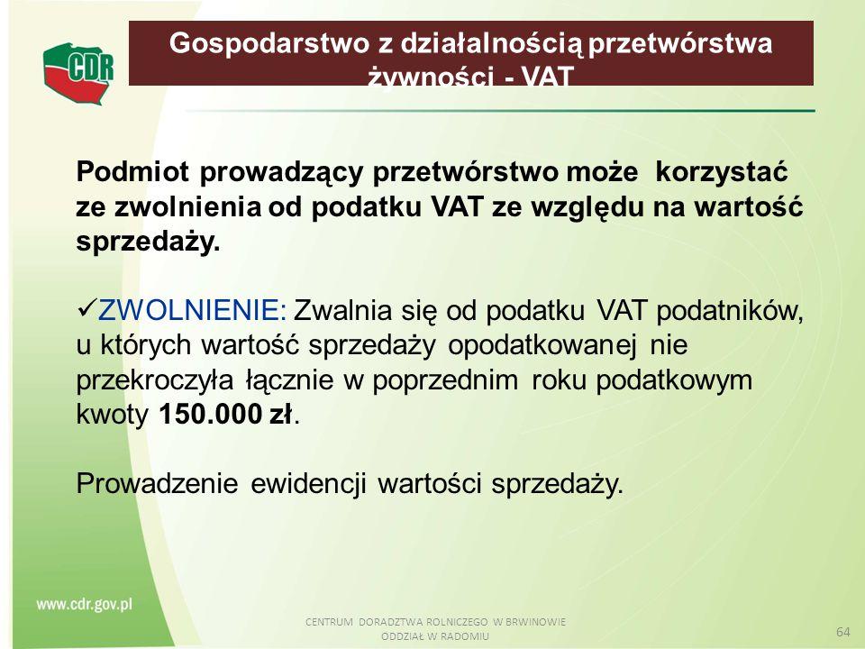 Gospodarstwo z działalnością przetwórstwa żywności - VAT