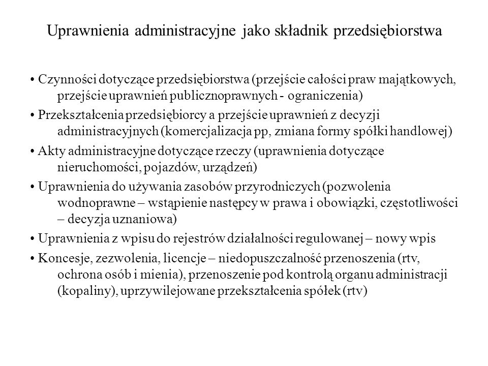 Uprawnienia administracyjne jako składnik przedsiębiorstwa