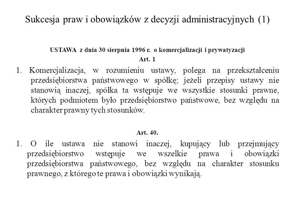 Sukcesja praw i obowiązków z decyzji administracyjnych (1)