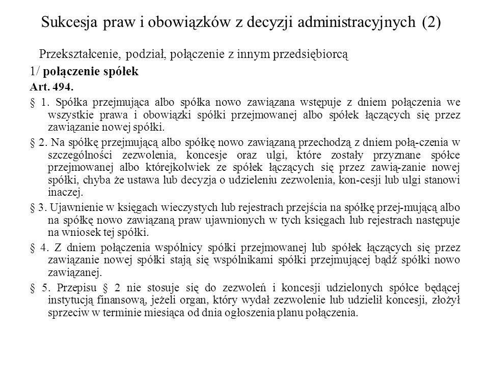Sukcesja praw i obowiązków z decyzji administracyjnych (2)