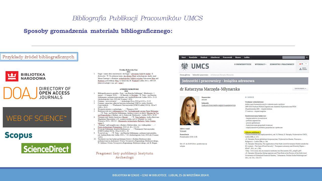 Fragment listy publikacji Instytutu Archeologii