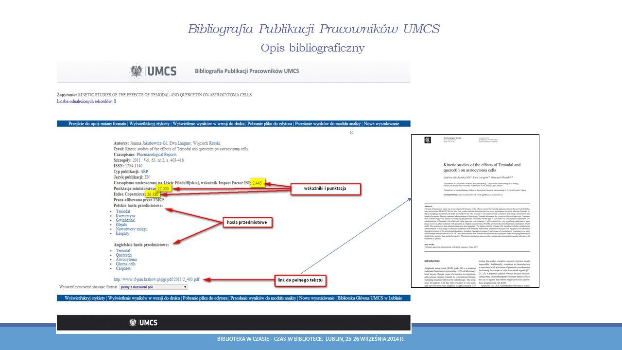 Bibliografia Publikacji Pracowników UMCS Opis bibliograficzny