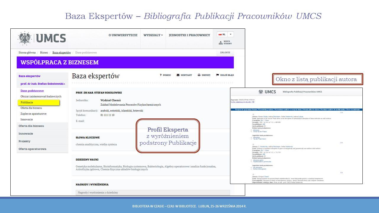 Baza Ekspertów – Bibliografia Publikacji Pracowników UMCS