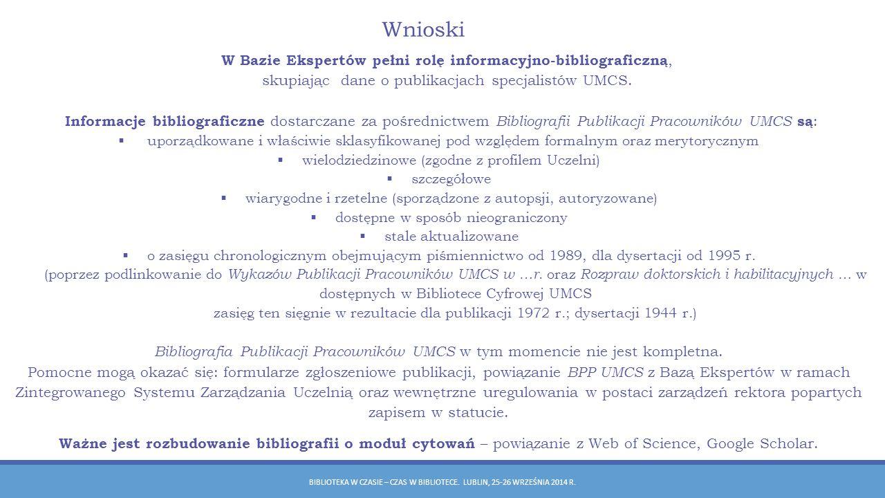 Wnioski W Bazie Ekspertów pełni rolę informacyjno-bibliograficzną,