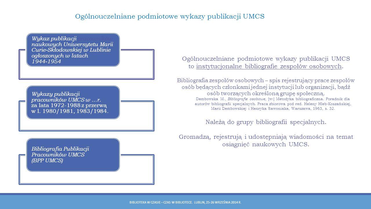 Ogólnouczelniane podmiotowe wykazy publikacji UMCS