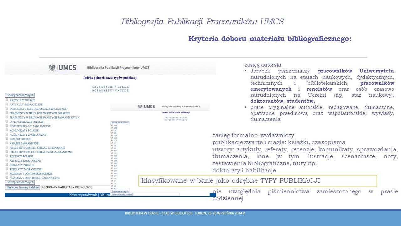 klasyfikowane w bazie jako odrębne TYPY PUBLIKACJI