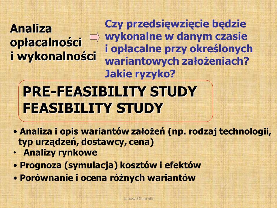 PRE-FEASIBILITY STUDY FEASIBILITY STUDY