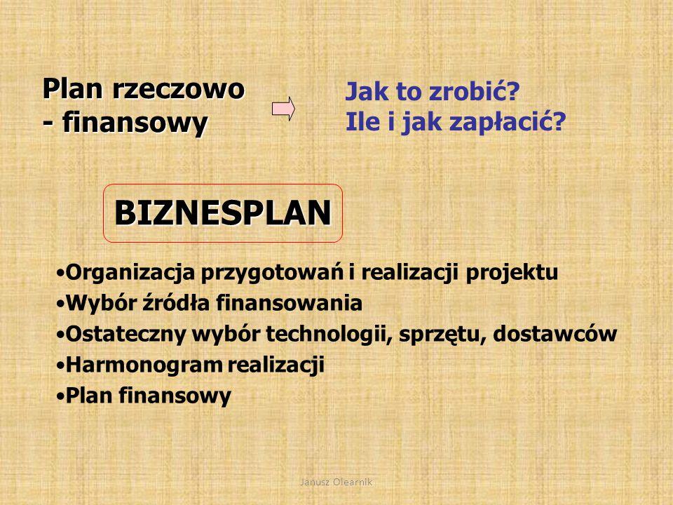 BIZNESPLAN Plan rzeczowo - finansowy Jak to zrobić