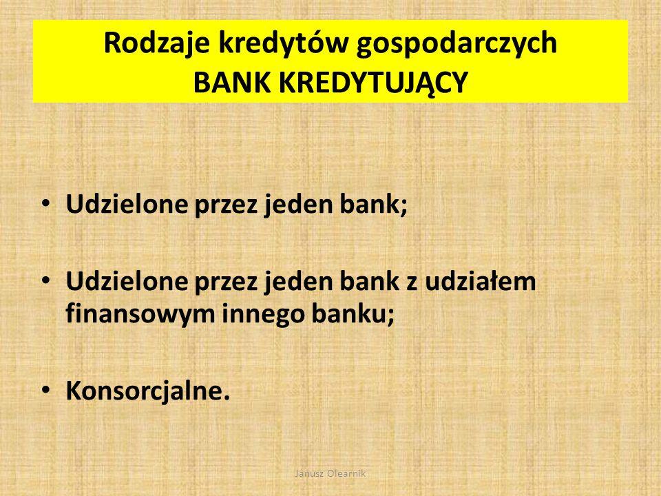 Rodzaje kredytów gospodarczych BANK KREDYTUJĄCY