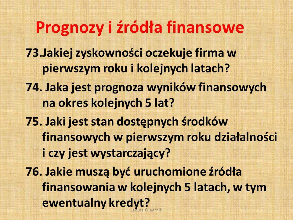 Prognozy i źródła finansowe