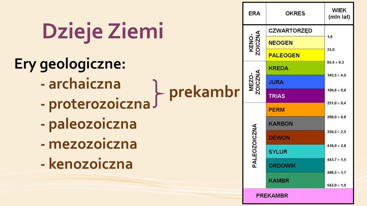 Dzieje Ziemi prekambr Ery geologiczne: - archaiczna - proterozoiczna