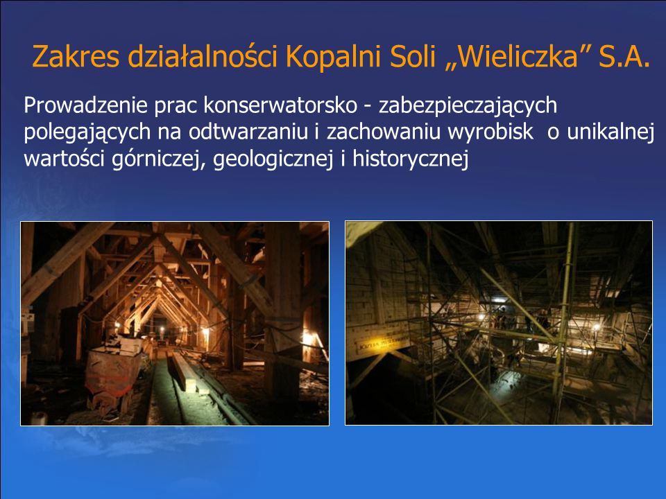 """Zakres działalności Kopalni Soli """"Wieliczka S.A."""