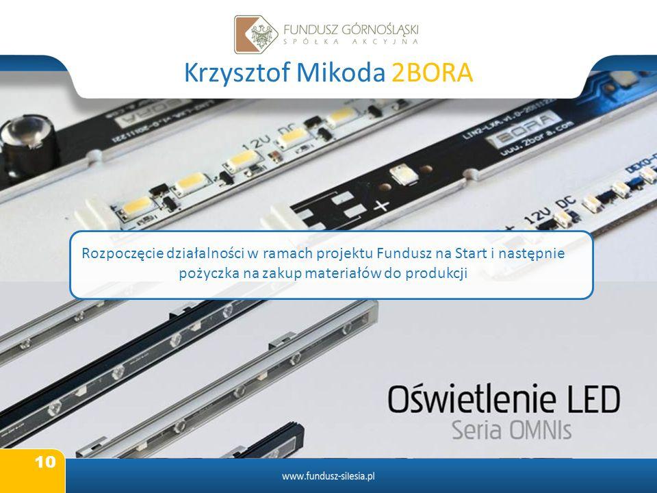 Krzysztof Mikoda 2BORA Rozpoczęcie działalności w ramach projektu Fundusz na Start i następnie pożyczka na zakup materiałów do produkcji.