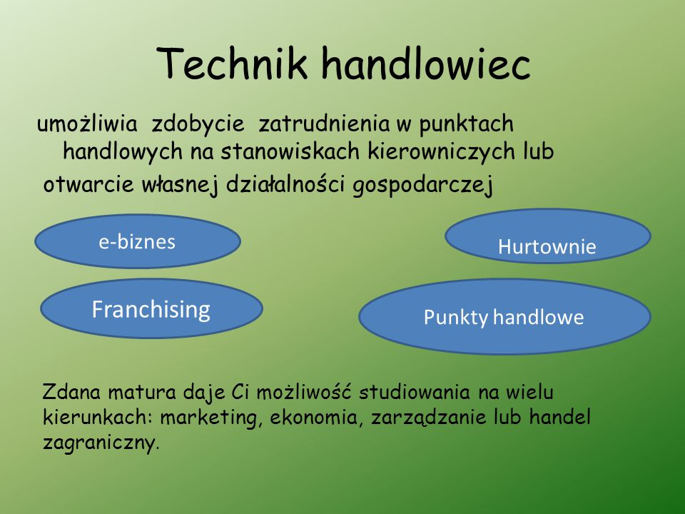 Technik handlowiec Franchising