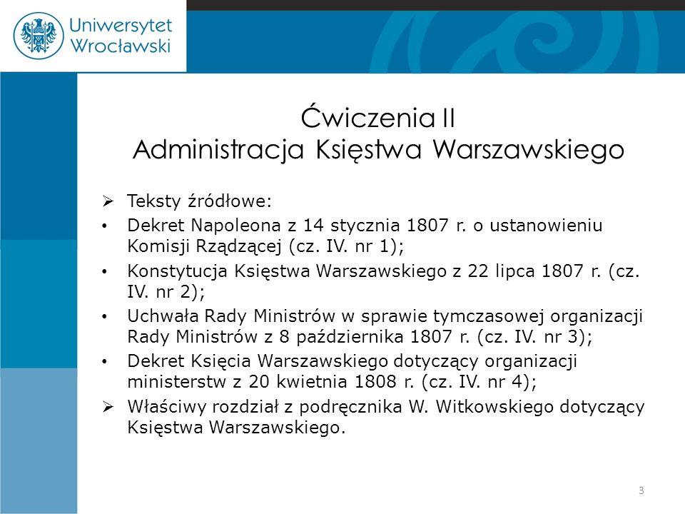 Ćwiczenia II Administracja Księstwa Warszawskiego