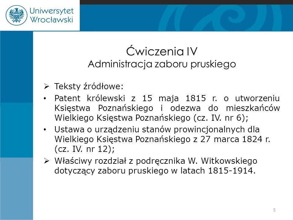 Ćwiczenia IV Administracja zaboru pruskiego