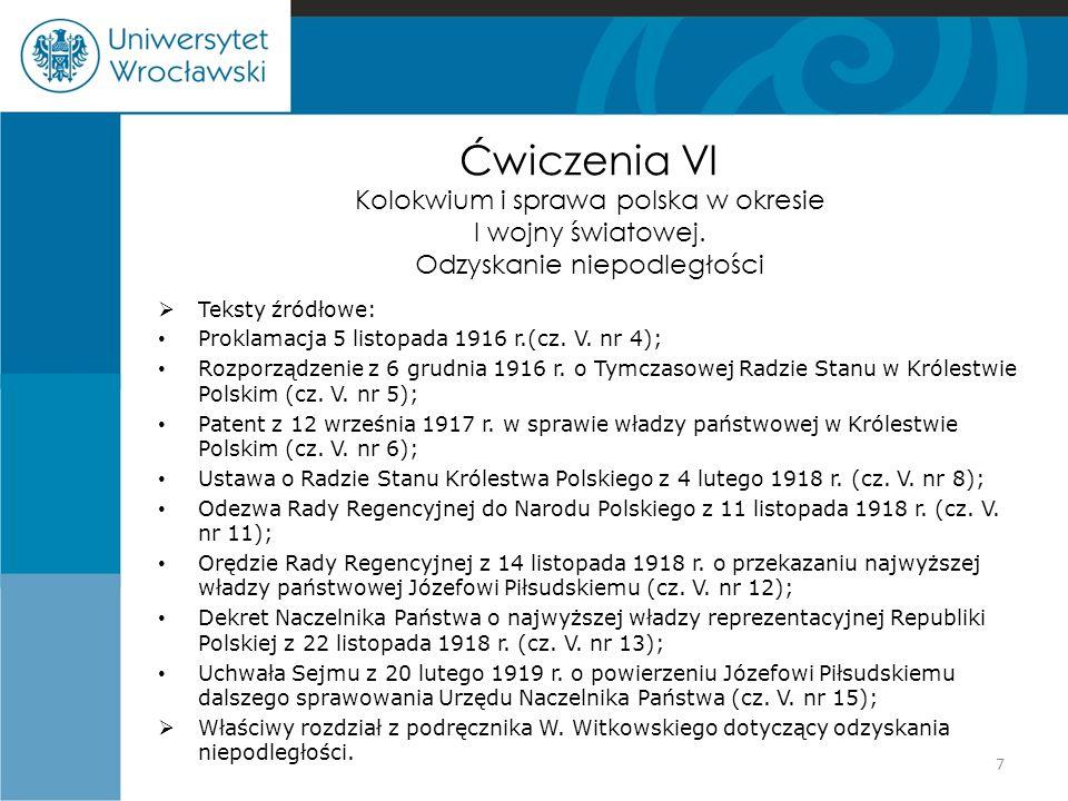 Ćwiczenia VI Kolokwium i sprawa polska w okresie I wojny światowej