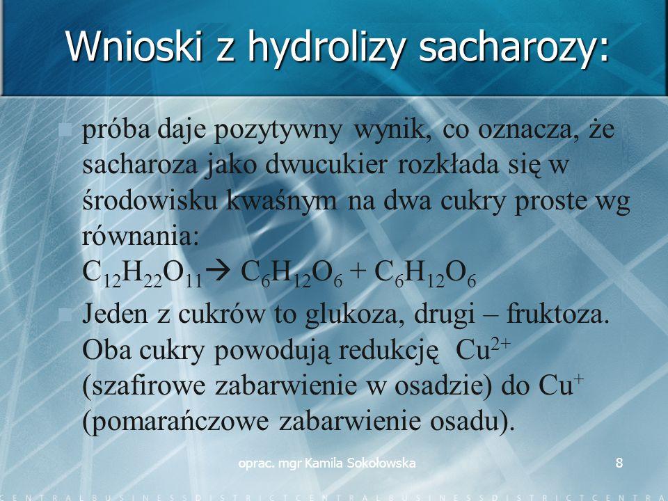 Wnioski z hydrolizy sacharozy: