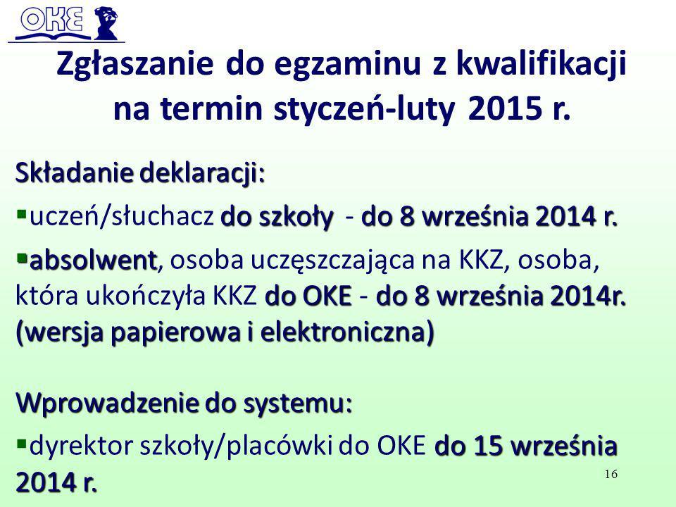 Zgłaszanie do egzaminu z kwalifikacji na termin styczeń-luty 2015 r.